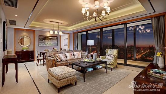 新古典风格样板间; 新古典样板房客厅实景照片